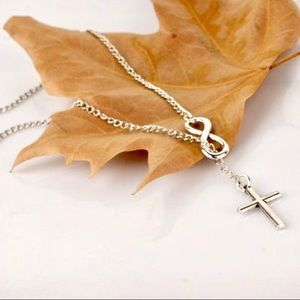 ⚡️2 for $15 Silver Tone Infinity Cross Necklace